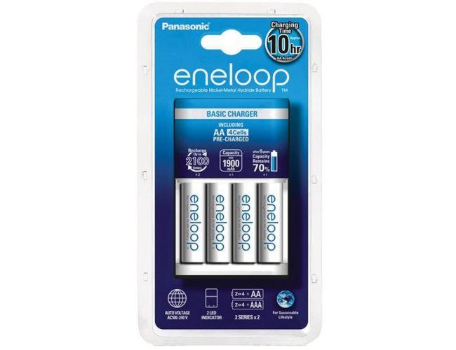 Cargador Panasonic Eneloop BQ-CC18 + 4 baterías Panasonic Eneloop BK-3MCCE AA 1900mAh
