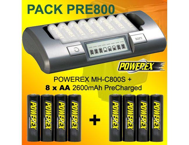 PACK PRE800 - Cargador Powerex MH-C800S + 8 baterías AA 2600 PreCharged