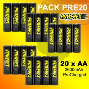 PACK PRE20 - 20 x Batería Recargable POWEREX AA 2600mAh Precharged