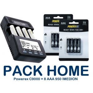 PACK-HOME - Powerex MH-C9000 Charger + 8xAAA 950mAh