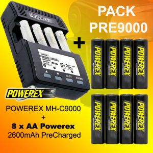 PACK PRE9000 - Powerex MH-C9000 Ladegeräte + 8 Akku Powerex AA 2600 Precharged