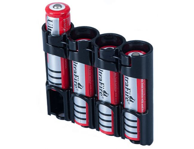 Battery case - 4 x 18650 Black