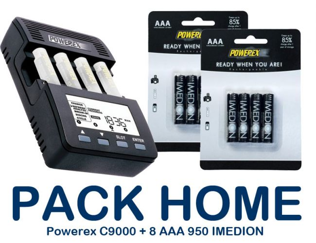 PACK-HOME - Chargeur POWEREX MH-C9000 + 8xAAA 950mAh