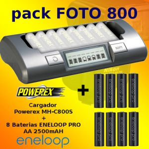PHOTO-800 - Chargeur Powerex MH-C800S + 8 Bateries Eneloop PRO 2500mAh AA