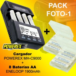 PHOTO-1 - Caricabatterie POWEREX MH-C9000 + 8 Batterie Eneloop 1900mAh