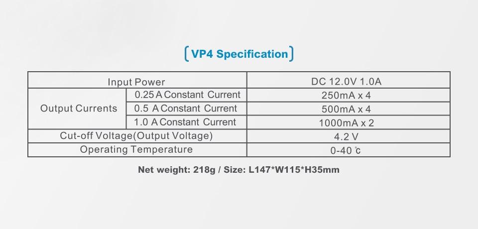 Especificaciones Cargador Xtar VP4