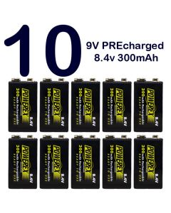 Pack 10 Pilas recargables 9V Powerex PreCharged 8,4v 300mAh