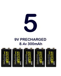 Pack 5 Pilas recargables 9V Powerex PreCharged 8,4v 300mAh